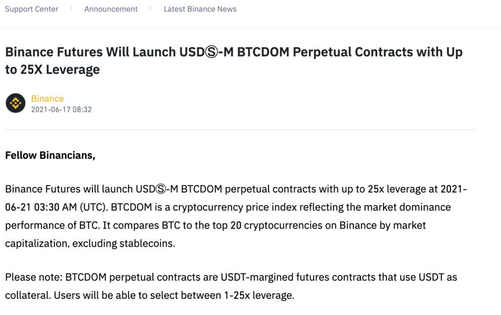Binance Futures BTCDOM